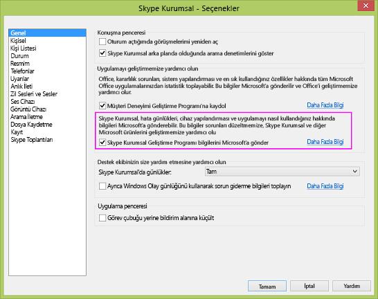 Seçenekler > Genel iletişim kutusundaki Skype Kurumsal veri toplama onay kutusu