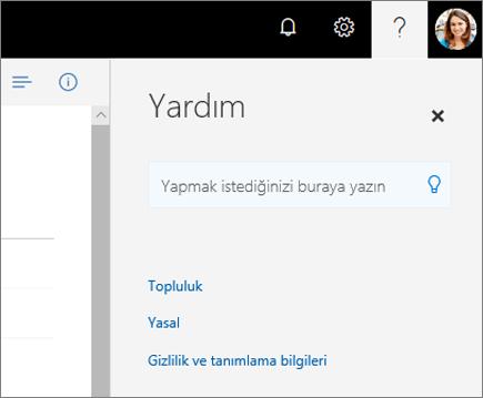 OneDrive Yardım bölmesinin ekran görüntüsü.