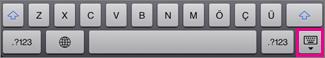 Klavyeyi gizlemek için alt sağ köşedeki Klavye tuşuna dokunun