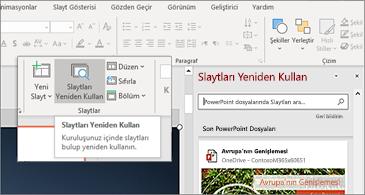 PowerPoint 'te slaytları yeniden kullanma düğmesi ve bölmeyi aç