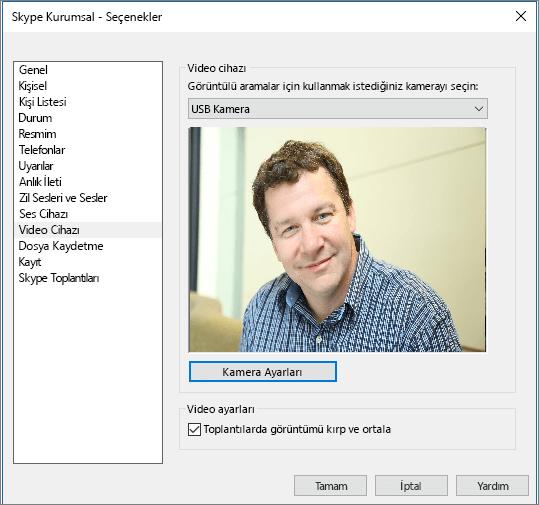 Skype Kurumsal'ın Seçenekler iletişim kutusundaki Görüntü Cihazları sayfasının ekran görüntüsü.