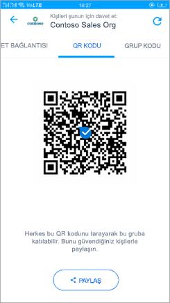 Kaizala 'deki QR kodu sayfasının ekran görüntüsü
