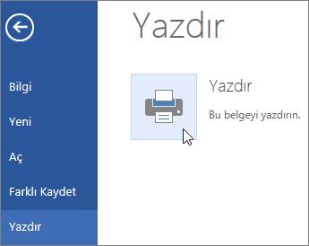 Word Online'da PDF'ye Yazdır düğmesinin görüntüsü