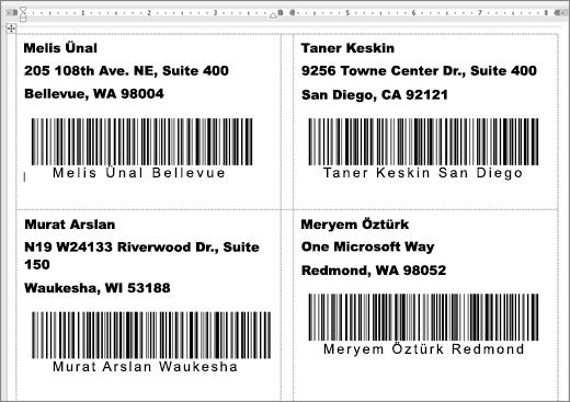 Adres ve barkod içeren bazı etiketlerin görüntüsü