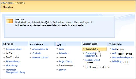 Oluştur iletişim kutusunda özel bir liste seçin