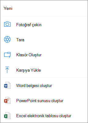 OneDrive'a yükleme