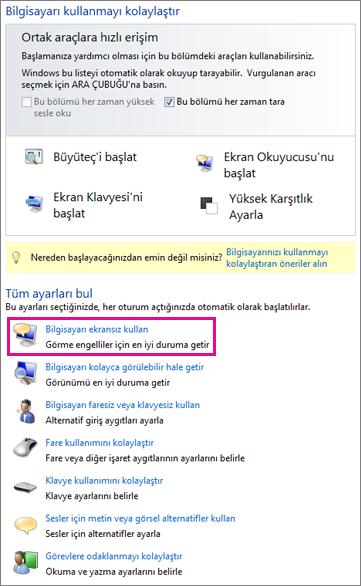 Windows'da Erişim Kolaylığı Merkezi