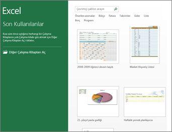Excel'de sağlanan şablonlardan bazıları