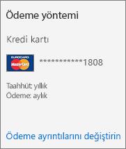 """Geçerli ödeme yöntemi kredi kartı olan bir abonelik için Abonelik kartındaki """"Ödeme yöntemi"""" bölümü"""