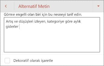 Android için PowerPoint 'te tablo için alternatif metin.