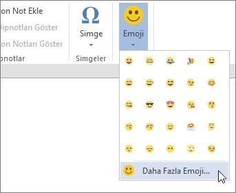 Daha fazla Emojis tüm kullanılabilir emojis seçmek için Ekle sekmesinde Emojis düğmesini tıklatın.