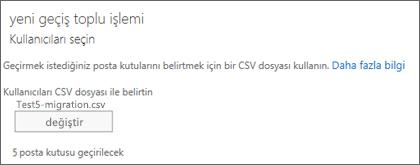 CSV dosyasına sahip yeni geçiş toplu işlemi