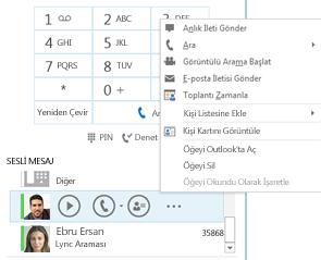 Lync'de sesli mesaj denetleme ekran görüntüsü