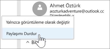 Bir kişinin izinlerinin seçilmesinin ve paylaşımı durdurmanın ekran görüntüsü