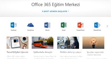 Office Eğitim Merkezi'nin farklı Office uygulamalarının simgelerini ve kullanılabilen içerik türlerinin kutucuklarını içeren giriş sayfası