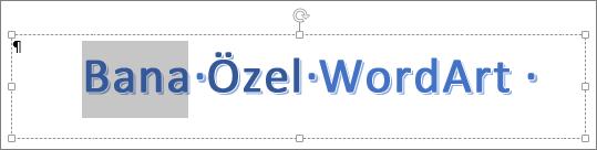 Kısmen seçili WordArt metni