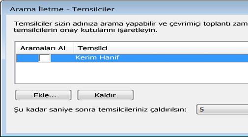 Lync'te temsilci ekleme ekran görüntüsü