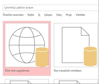 Başlangıç ekranındaki Özel web uygulaması düğmesi.