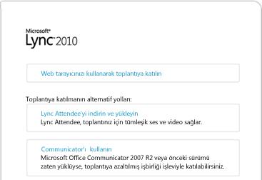 Lync tarayıcı penceresinin resmi