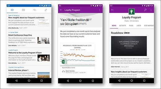 Android mobil cihazlarda SharePoint Haberler
