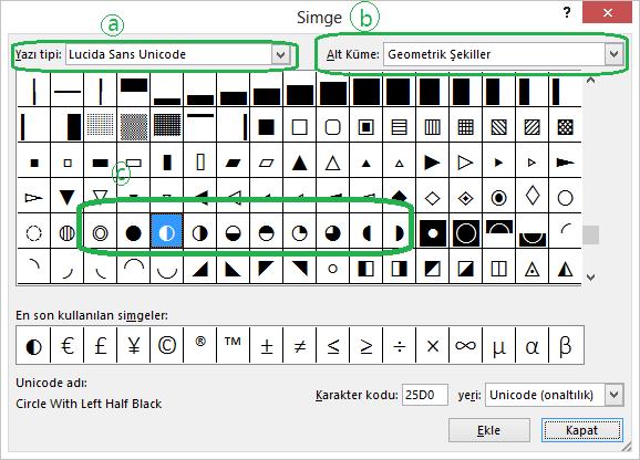 Simge Ekle iletişim kutusundaki Unicode yazı tipi Harvey topu simgelerini içerir
