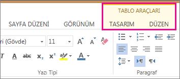 Word Web App'te Tablo Araçları'nın altındaki Tasarım ve Düzen sekmelerinin görüntüsü