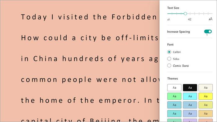 Okuma İlerlemesi'nde tam ekran okuyucunun ekran görüntüsü. metin boyutu, aralık ve arka plan rengi dahil olmak üzere seçenekler gösterilir