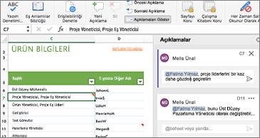 Sol tarafta çalışma sayfası ve sağ tarafta ise @bahsetmeler içeren açıklamalar