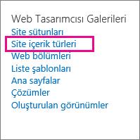 Site Ayarları sayfasında site içerik türleri bağlantısı