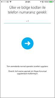 iOS için Skype Kurumsal'da geri arama numarası ekranı
