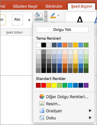 Ekran şekil dolgusu menüden, dolgu yok, tema renkleri, standart renkler, diğer Dolgu renkleri, resim, gradyan ve doku birlikte sağlanan seçenekler gösterilir.