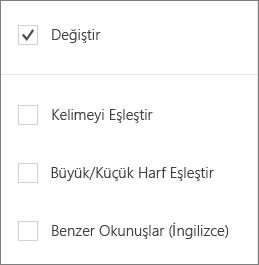 Word Mobile Bul seçeneklerini gösterir: Değiştir, sözcükleri eşleştir, KAÇINCI büyük/küçük harf, buna benzer.