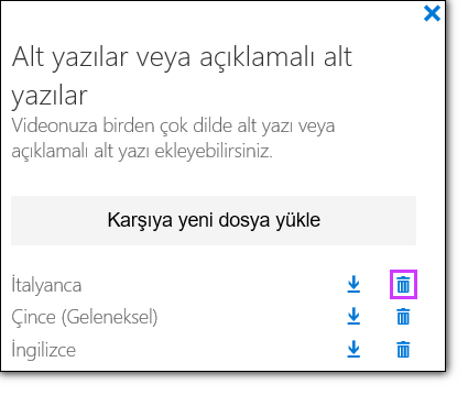 Office 365 video videoyu Sil alt yazılar