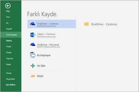 Office 2016'da kaydetme seçenekleri