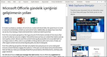 Solda belge ve sağda Web Sayfasına Dönüştür bölmesi