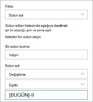 Sütun adı kullanarak belge kitaplığı için filtre uygulama