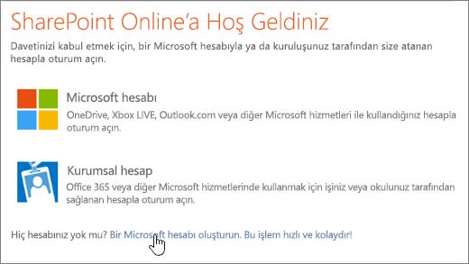 Microsoft hesabı oluşturma bağlantısının seçili olduğu SharePoint Online oturum açma ekranını gösteren ekran görüntüsü.