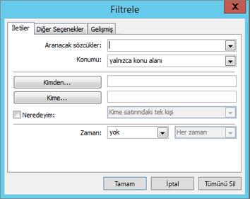 Yalnızca belirli e-postaları içeri aktarmak isterseniz Filtrele'yi seçin.