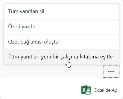 Microsoft Forms'da tüm yanıtları yeni bir çalışma kitabına eşitleme seçeneği