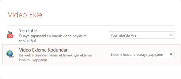PowerPoint'te video ekle seçeneğini gösterir