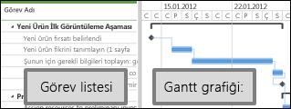 görev listesinin ve gantt grafiğinin gösterildiği proje merkezi
