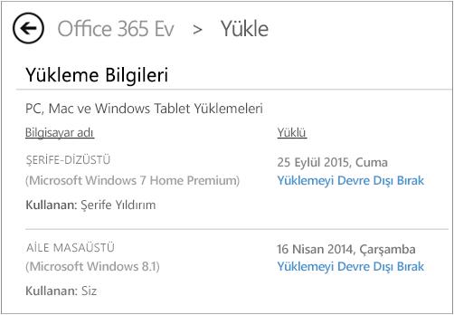 Bilgisayar adını ve Office'i yükleyen kişinin adını gösteren Yükleme sayfasını.