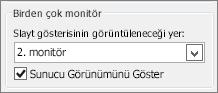 PowerPoint 2010 Monitör seçenekleri