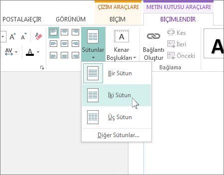 Publisher'daki Metin Kutusu Araçları Sütunları'nın ekran görüntüsü.