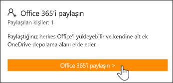 Hesabım sayfasının abonelik herhangi biriyle paylaşılmadan önceki Office 365'i Paylaş bölümü.