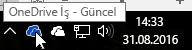 Mavi OneDrive simgesinin üzerine getirilmiş imleci ve OneDrive İş metnini gösteren ekran görüntüsü.