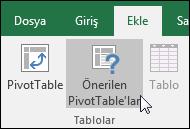 Excel'in sizin için bir PivotTable oluşturmasını istiyorsanız Ekle > Önerilen PivotTable'lar seçeneğine gidin