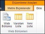 Şeritteki düzenleme araçlarında Web Bölümü Ekle düğmesi bulunur.