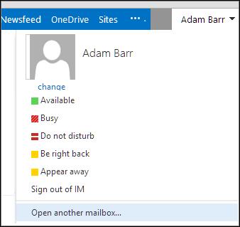 Outlook Web App Başka bir posta kutusu aç menüsü