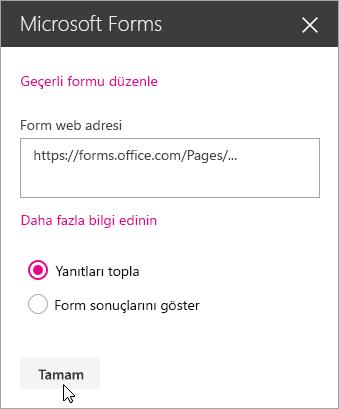 Yeni bir form oluşturulduktan sonra Microsoft Forms web bölümü paneli, formun web adresini gösterir.